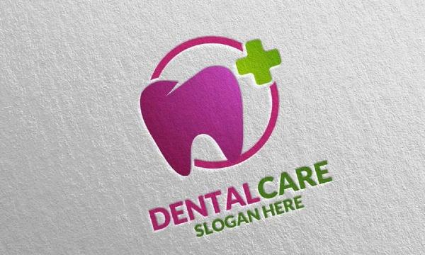 طرح لایه باز لوگوی دندان و دندانپزشکی با رنگبندی متنوع به صورت وکتور