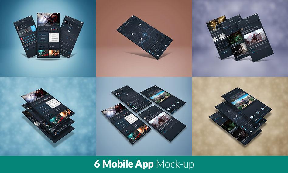 مجموعه 6 موکاپ برنامه و اپلیکیشن موبایل به صورت لایه باز برای فتوشاپ