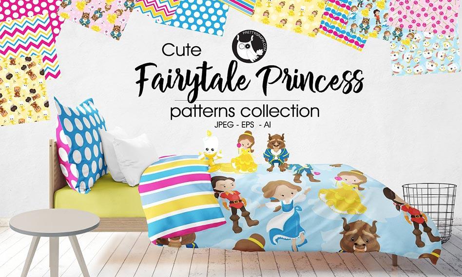 پترن برداری شاهزاده و پرنسس فانتزی مناسب برای طراحی با فرمت EPS , AI , JPG