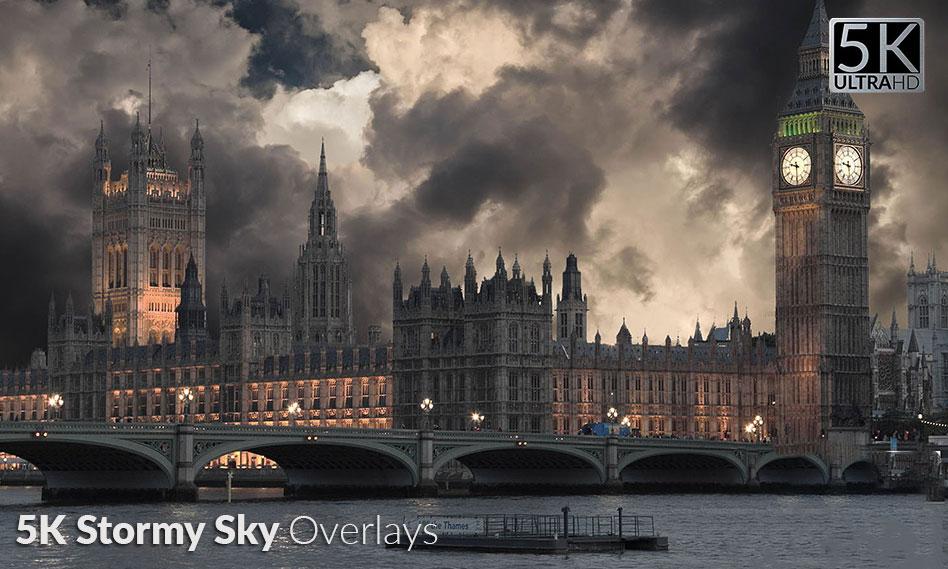 مجموعه 25 افکت آسمان ابری و طوفانی با کیفیت 5K مناسب برای طراحی