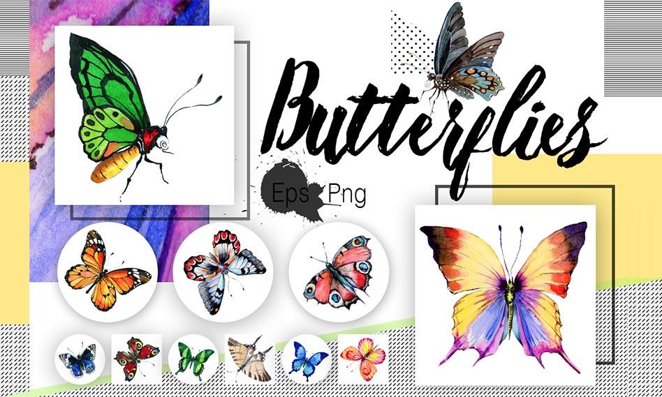 مجموعه 19 وکتور پروانه مختلف با طرح آبرنگی مناسب برای طراحی
