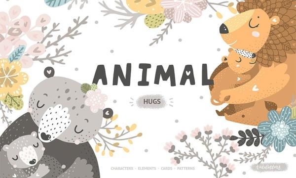 وکتور فانتزی و کودکانه بچه حیوانات در آغوش مادر به همراه وکتور فانتزی شاخه و برگ درختان