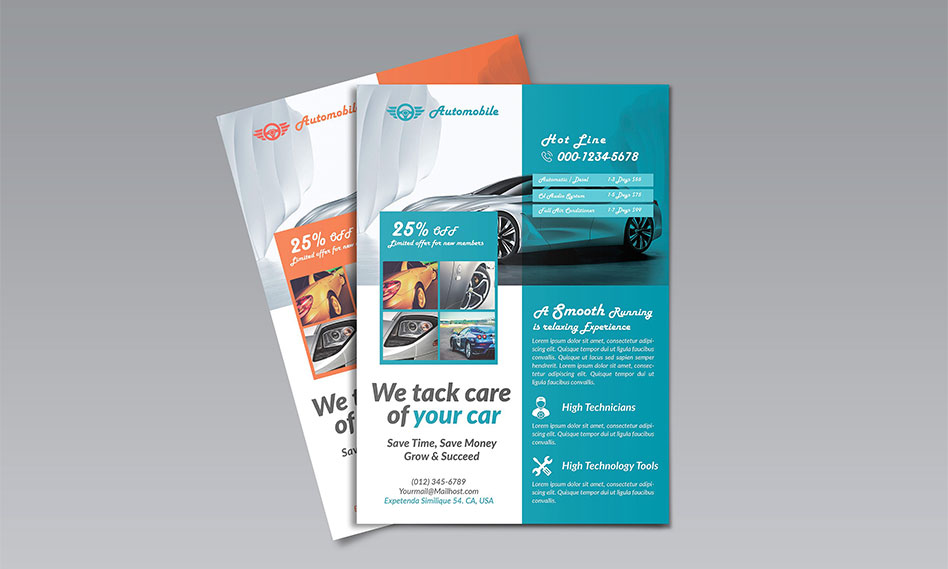 طرح لایه باز تراکت کارواش و شستشوی اتومبیل برای فتوشاپ با فرمت PSD