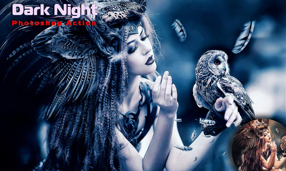 ایجاد افکت شب مهتابی بر روی عکس و تصاویر با اکشن فتوشاپ Dark Night