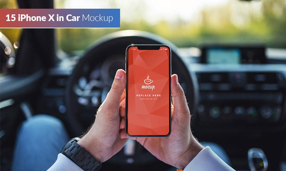 مجموعه 15 موکاپ آیفون ایکس در اتومبیل iPhone X in Car Mockup