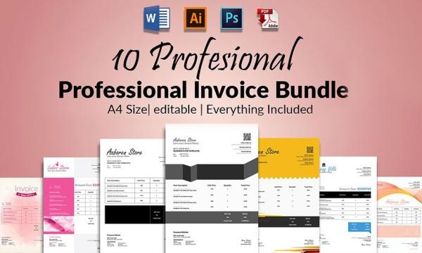 مجموعه 10 طرح لایه باز فاکتور فروش و صورتحساب برای ورد ، فتوشاپ و ایلاستریتور