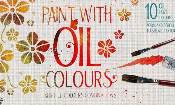 قالب آماده افکت نقاشی رنگ روغن برای متن و اشکال در فتوشاپ با فرمت PSD