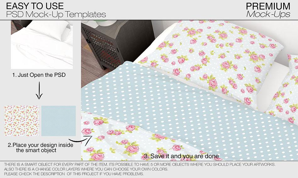 ست کامل موکاپ اتاق خواب به صورت لایه باز قابل ویرایش در فتوشاپ