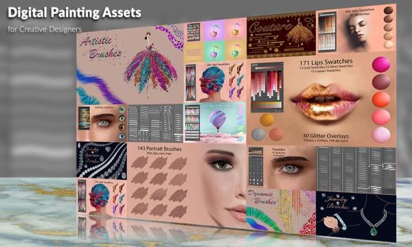 مجموعه ابزار طراحی و نقاشی دیجیتال چهره و میکاپ صورت برای فتوشاپ