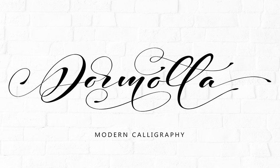 فونت انگلیسی فوق العاده زیبای Dormotta مناسب برای طراحی کارت عروسی و کارت پستال