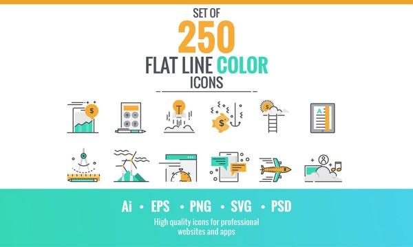 مجموعه 250 آیکون فلت خطی رنگی با موضوعات مختلف مناسب برای طراحی