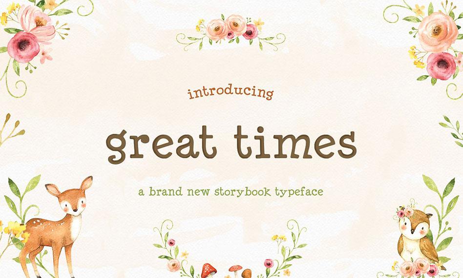 فونت انگلیسی فانتزی و کودکانه Great Times Font مناسب برای طراحی