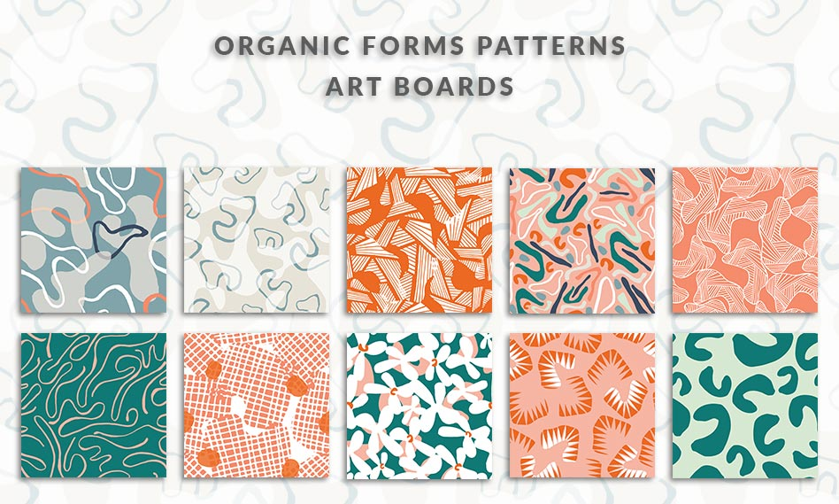 مجموعه پترن اشکال ارگانیک تابلوهای هنری به صورت وکتور با فرمت EPS , AI , JPG