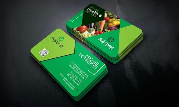 طرح لایه باز کارت ویزیت گلخانه میوه و سبزیجات با فرمت PSD , EPS