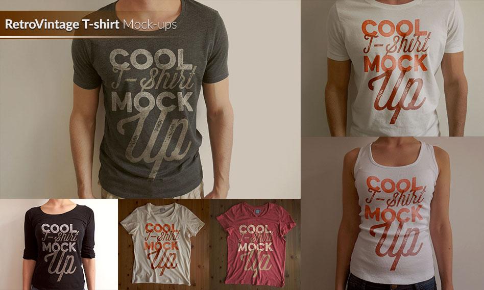 مجموعه 6 موکاپ تی شرت و زیرپوش قدیمی به صورت لایه باز برای فتوشاپ