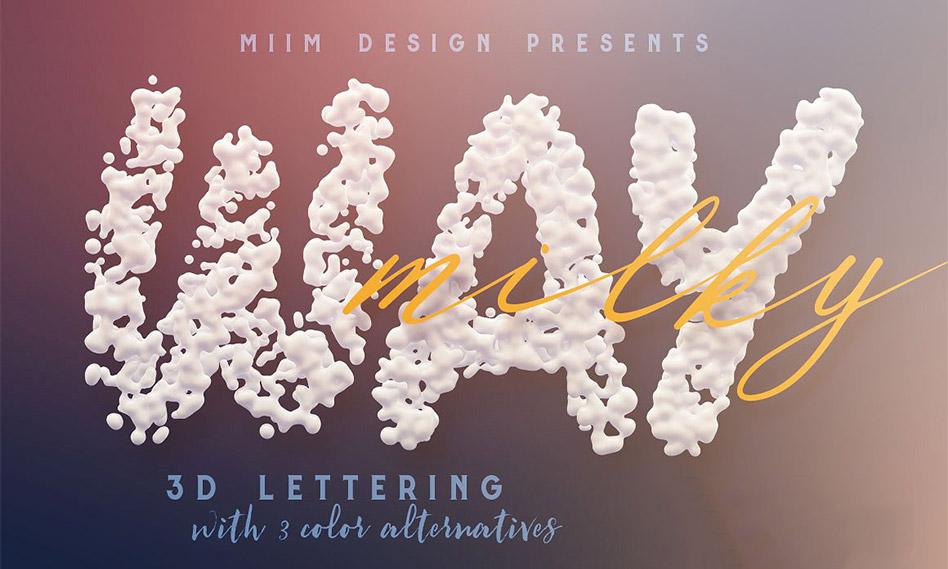 حروف الفبای انگلیسی با افکت قطرات شیر به صورت 3D با فرمت PNG