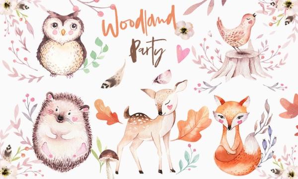 مجموعه عناصر طراحی جنگل و حیوانات فانتزی نقاشی شده با فرمت PNG
