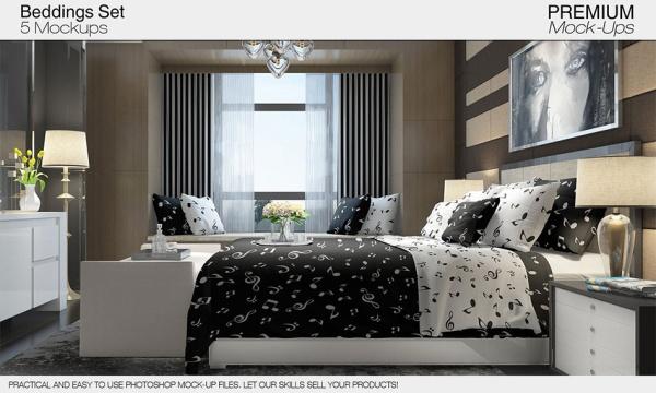 طرح لایه باز موکاپ اتاق خواب و تخت خواب قابل استفاده و ویرایش در فتوشاپ