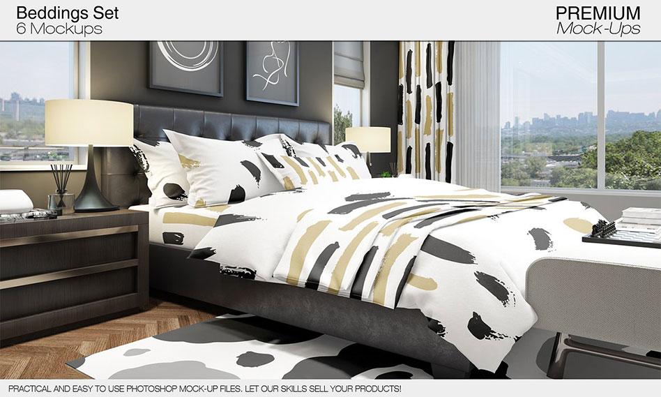 طرح لایه باز موکاپ تخت خواب دونفره به همراه بالش ، ملحفه و … با فرمت PSD
