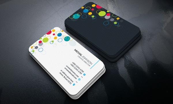 فایل لایه باز کارت ویزیت با بک گراند زیبا و دو طرح تیره و روشن