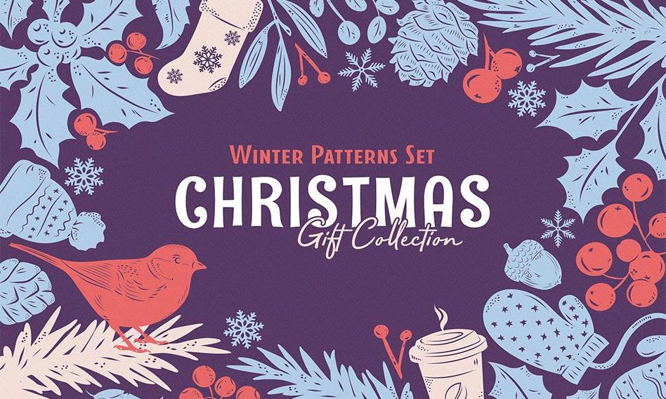 مجموعه 24 پترن بدون درز اشکال تزئینی کریسمس به صورت وکتور