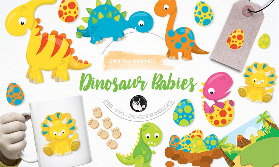مجموعه تصاویر وکتور دایناسور فانتزی مناسب برای طرح های کودکانه