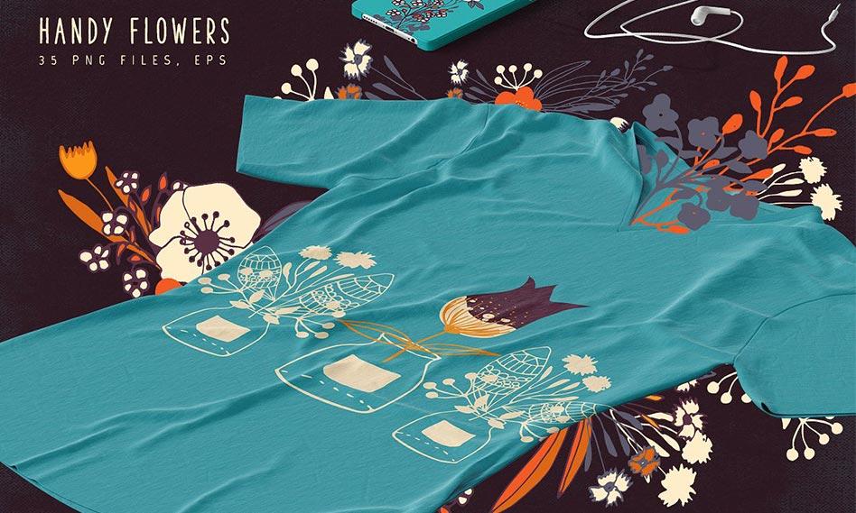 مجموعه تصاویر وکتور گل های نقاشی شده با دست مناسب برای طراحی