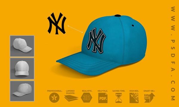 مجموعه 3 موکاپ کلاه بیسبال به صورت لایه باز با فرمت PSD