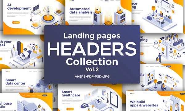 10 طرح مدرن و فلت ایزومتریک برای لندینگ پیج وب سایت به صورت وکتور