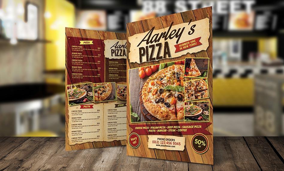 طرح لایه باز منوی پیتزا و فست فود با فرمت PSD مناسب برای فتوشاپ