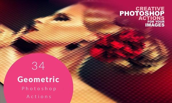 اکشن ایجاد افکت اشکال هندسی بر روی عکس و تصاویر در فتوشاپ