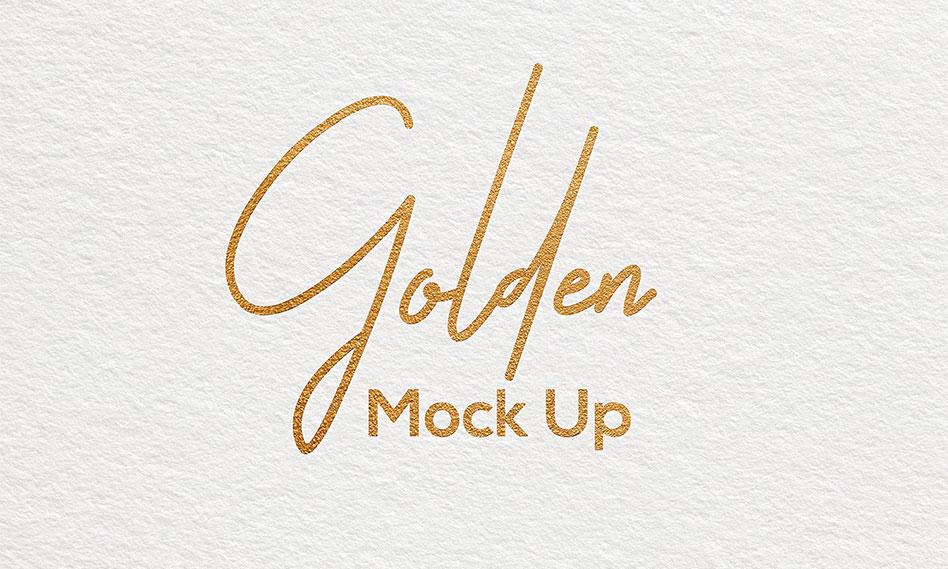 موکاپ لوگو طلایی روی کاغذ به صورت لایه باز با فرمت PSD