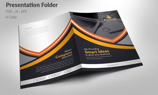 فایل لایه باز و قالب آماده پوشه ارائه برای فتوشاپ و ایلاستریتور