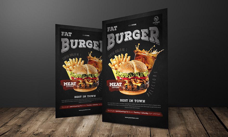 طرح لایه باز تراکت و پوستر همبرگر برای فست فود با فرمت PSD
