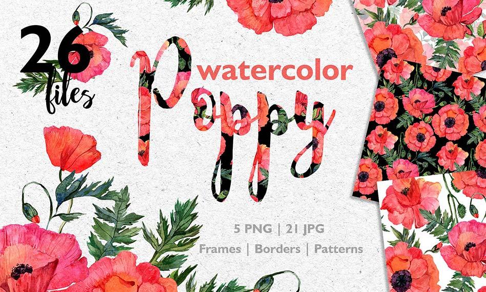 کلیپ آرت گل خشخاش قرمز با طرح آبرنگی و کیفیت بالا مناسب برای طراحی