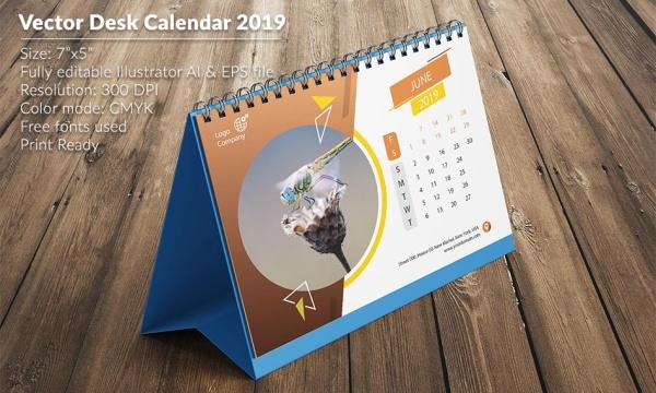 طرح لایه باز وکتور تقویم میلادی رومیزی 2019 با فرمت AI , EPS
