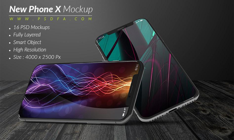 16 موکاپ و پیش نمایش موبایل آیفون 10 با فرمت PSD
