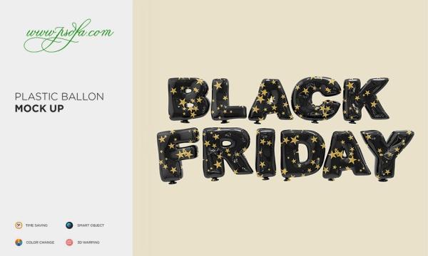 موکاپ افکت بادکنکی جمعه سیاه (Black Friday) به صورت لایه باز