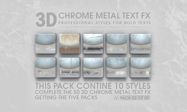10 استایل سه بعدی فلز کروم برای فتوشاپ با کیفیت بالا