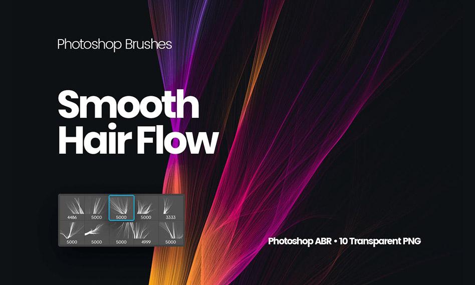 براش موی صاف انتزاعی برای فتوشاپ با کیفیت بالا و فرمت PNG , ABR
