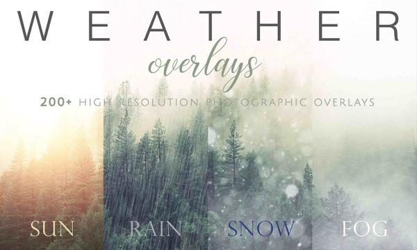 مجموعه افکت مه ، تابش خورشید ، باران ، برف ، رنگین کمان با کیفیت بالا