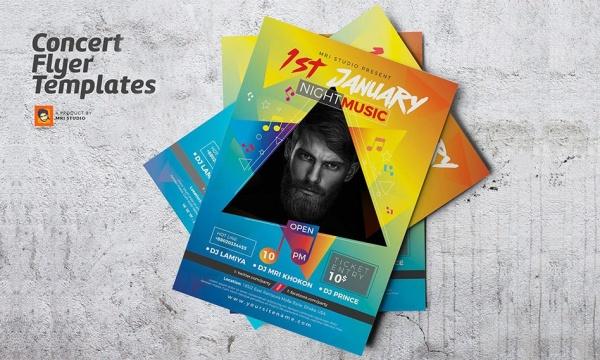 تراکت و پوستر کنسرت و موزیک با فرمت AI , EPS برای ایلاستریتور