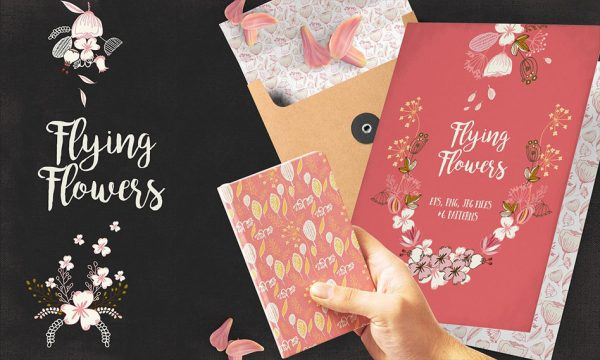 وکتور عناصر تزئینی گل و بوته فانتزی و خیالی به همراه پترن برای طراحی