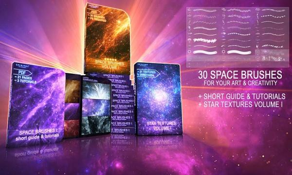 بک گراند و براش ستاره ، کهکشان ، سیاره و فضا برای فتوشاپ