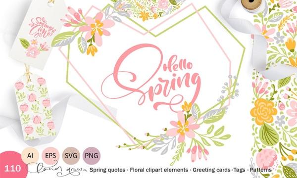 عناصر تزئینی گل و بوته بهاری فانتزی طراحی شده به صورت وکتور