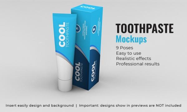 موکاپ خمیر دندان و جعبه خمیر دندان قابل ویرایش در فتوشاپ