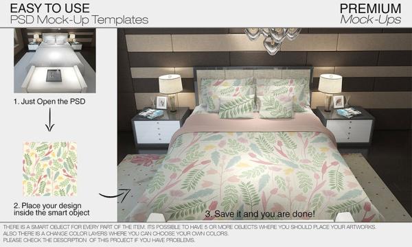طرح لایه باز موکاپ تختخواب ، ملحفه ، روبالشی و اتاق خواب برای فتوشاپ