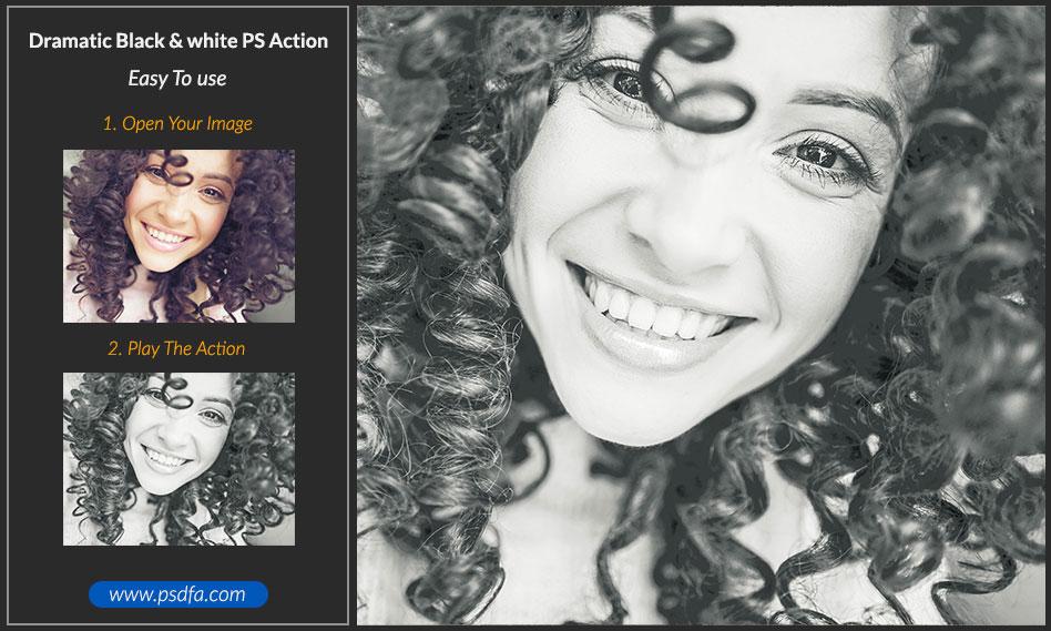 اکشن فتوشاپ تبدیل تصاویر رنگی به سیاه و سفید دراماتیک