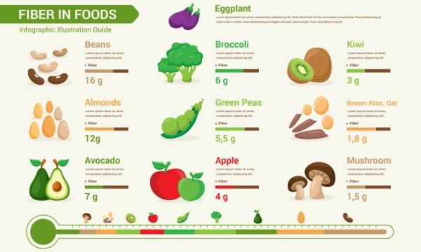 اینفوگرافیک میزان فیبر در میوه جات