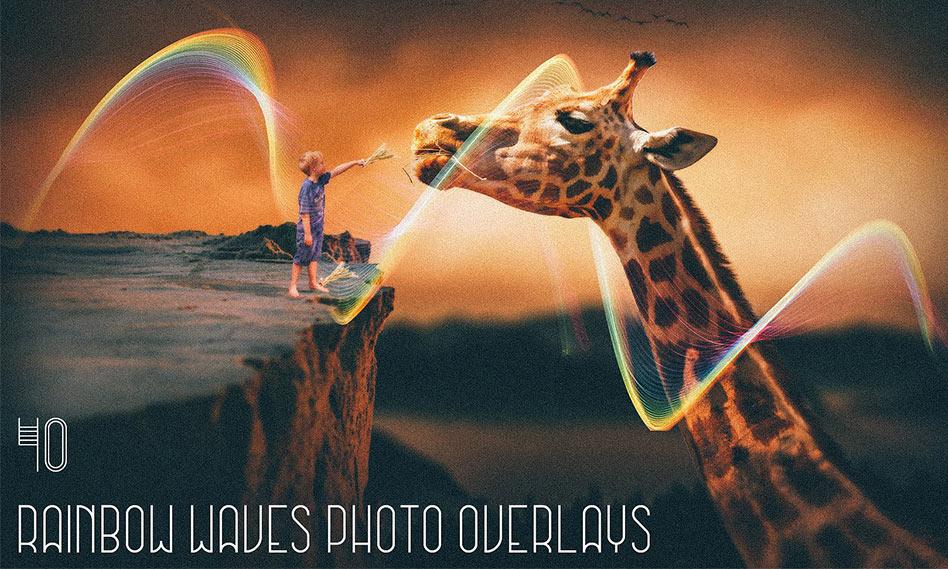 افکت خطوط رنگین کمانی موج دار عکس و تصاویر با کیفیت بالا برای فتوشاپ